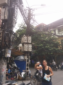 Electrical wiring in Hanoi.