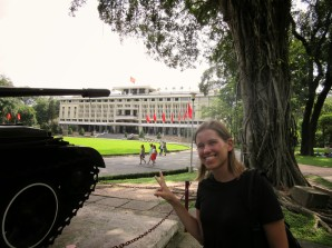 "Replica of the tank that stormed what is now, ""Reunification Palace"" in what is now Ho Chi Minh City."