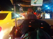 Tuk Tuk ride with our luggage from the bus stop to our hotel in Phnom Penh