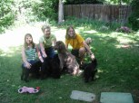 three girls, pups, hersh and bobby